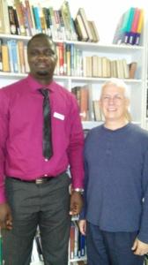Greg greets Mr Patrick Mutomba at SATS.