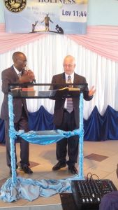 Greg preaches at the Nkulumane church. His interpreter (into Zulu) was Pastor Elisha Mungure.