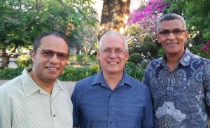 Greg enjoyed time with many, including General Superintendent Eugenio Duarte (L) and Rev Aderito Ferreira, FSC for Lusophone Africa